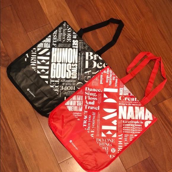 💜 2 lululemon Reusable tote gym Bags